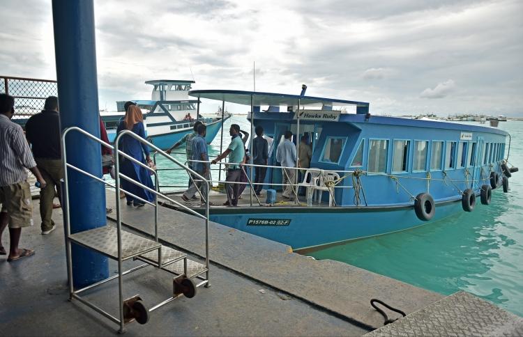 Commuters boarding a ferry